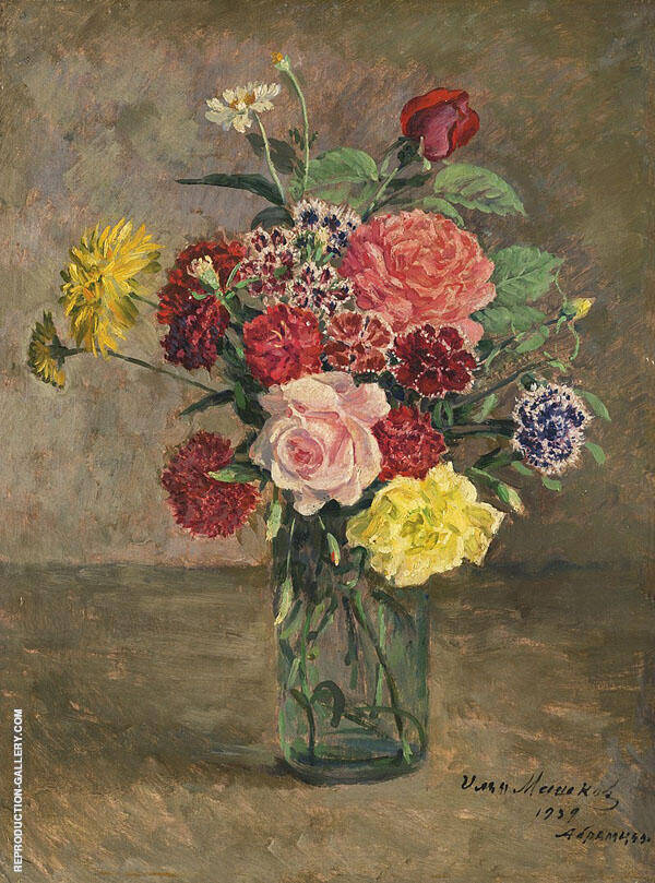 Roses and Carnations Painting By Ilya Mashkov - Reproduction Gallery