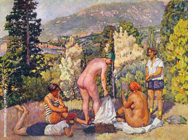 Sunbathing in The Crimea Painting By Ilya Mashkov - Reproduction Gallery