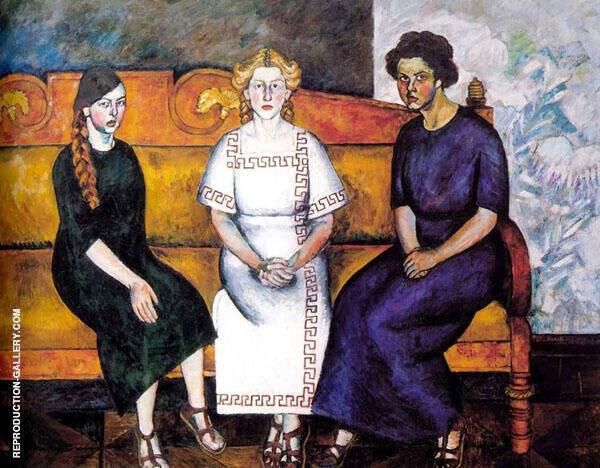 Three Sisters 1911 Painting By Ilya Mashkov - Reproduction Gallery