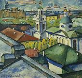 View of Moscow Myasnitsky District 1913 By Ilya Mashkov