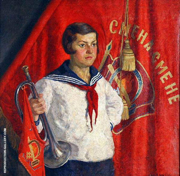 Young Pioneer with a Horn By Ilya Mashkov   Oil Painting Replica On Canvas