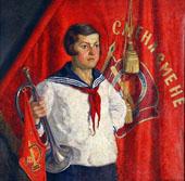 Young Pioneer with a Horn By Ilya Mashkov