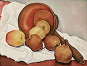 Still Life with Anjou Pears Apples and Copper Pot By Rinaldo Cuneo