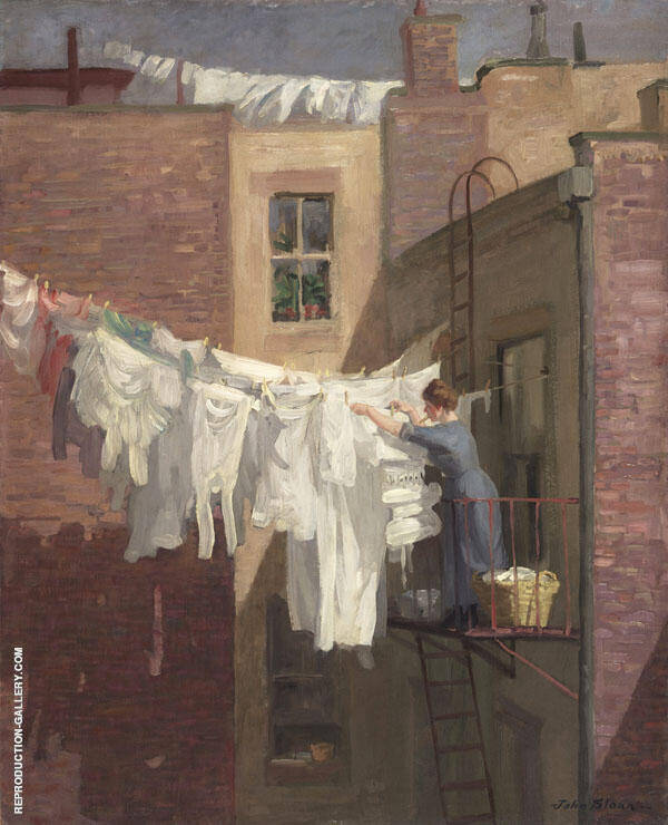 A Woman's Work Painting By John Sloan - Reproduction Gallery