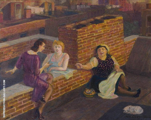 Roof Chats Painting By John Sloan - Reproduction Gallery