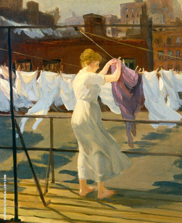 Sun and Wind on The Roof 1915 Painting By John Sloan