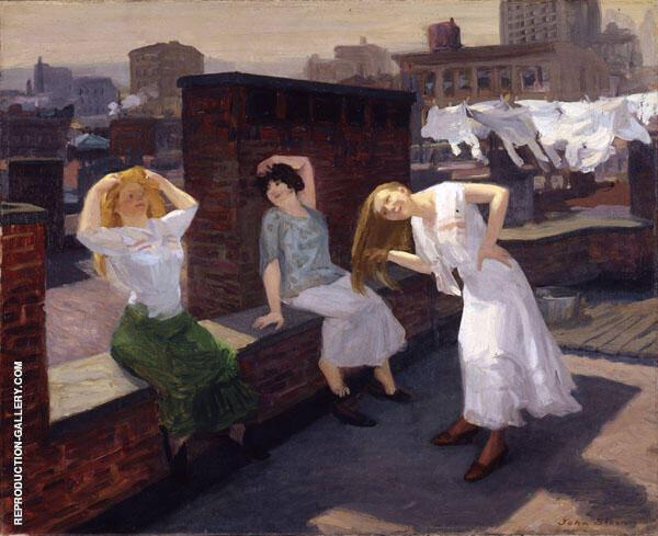 Sunday Women Drying Their Hair Painting By John Sloan