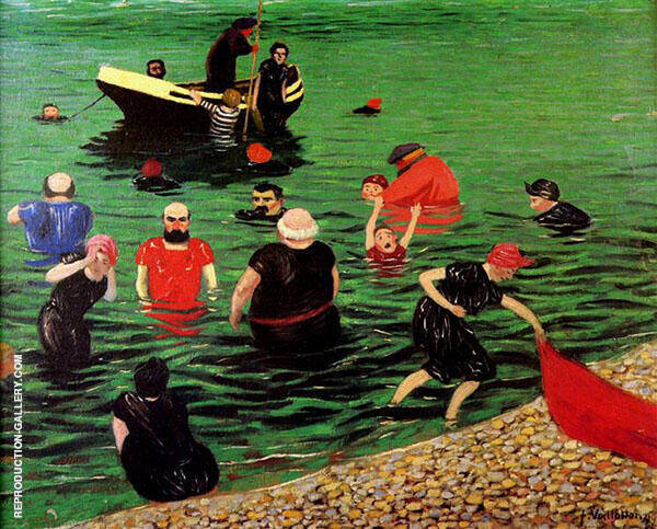 Bathing in Etretat 1899 By Felix Vallotton