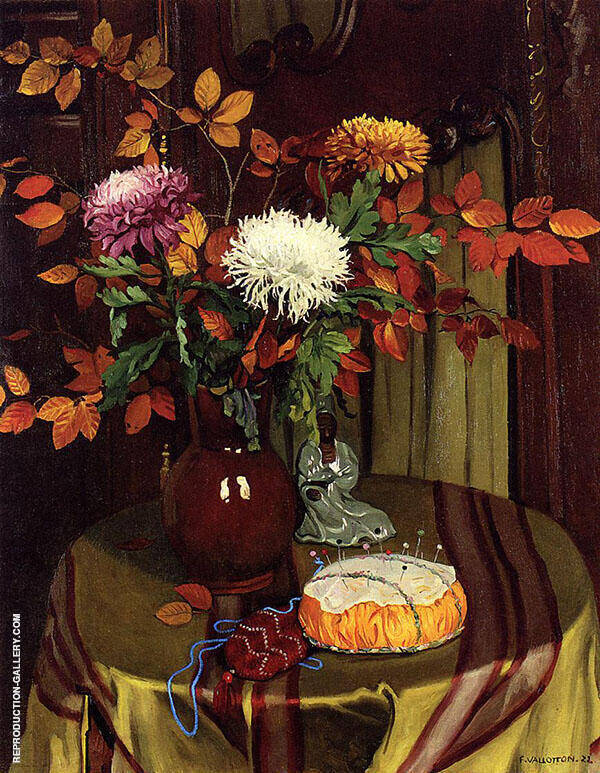 Chrysanthemums and Autumn Foliage 1922 By Felix Vallotton