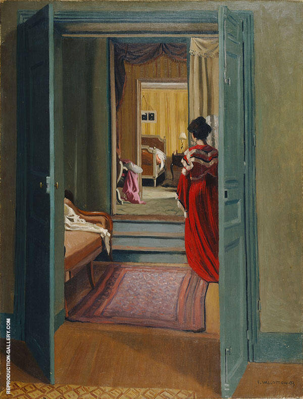 Interior with Woman in Red 1903 By Felix Vallotton