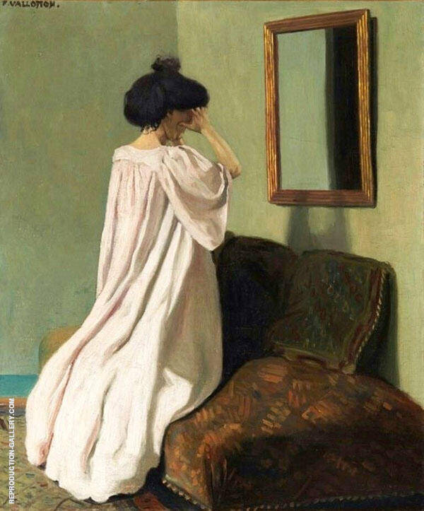 Kneeling in front of a Mirror on The Couch in The Workshop By Felix Vallotton