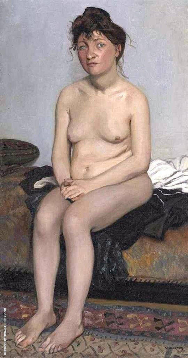 Nude Sitting on The Couch in The Studio By Felix Vallotton