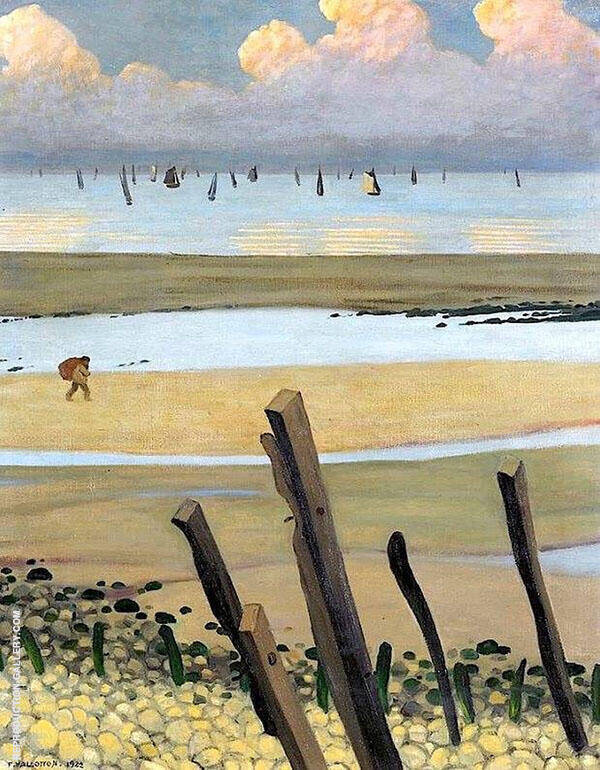 The Sea at Low Tide Villerville By Felix Vallotton