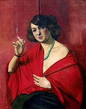 Woman Draped in Red Holding a Cigarette By Felix Vallotton