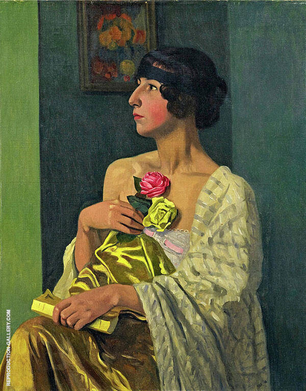 Woman with Roses By Felix Vallotton