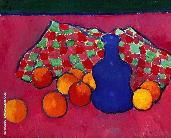 Blue Vase with Oranges By Alexej von Jawlensky