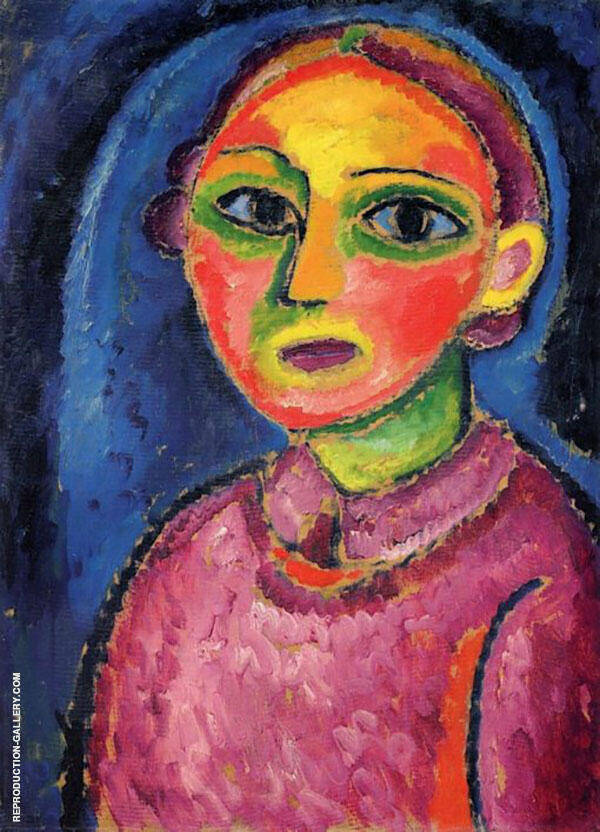 Bust of a Woman in a Red Robe By Alexej von Jawlensky