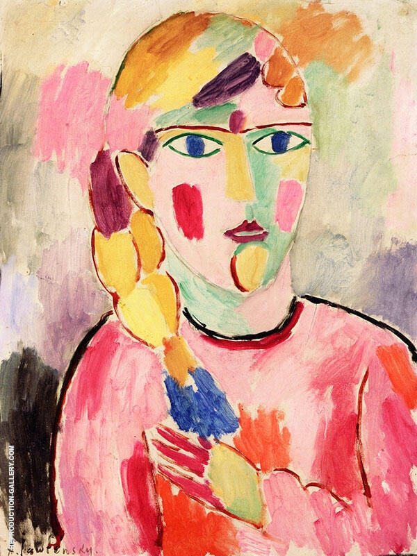 Girl with Blue Eyes and a Ponytail By Alexej von Jawlensky