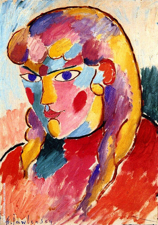 Girl with Blue Eyes and Two Plaits By Alexej von Jawlensky