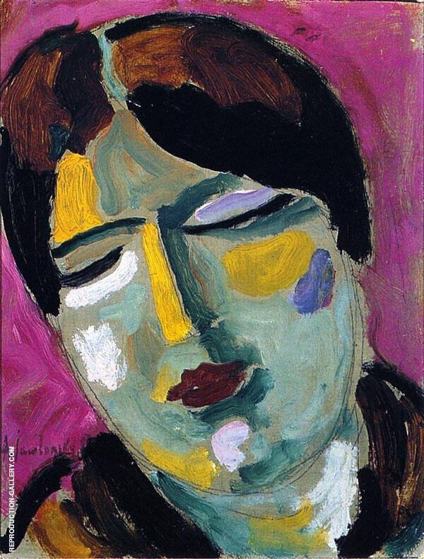 Mystical Head Dreaming Woman By Alexej von Jawlensky