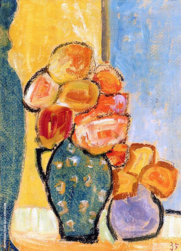 Still Life with Three Flower Vases Painting By Alexej von Jawlensky