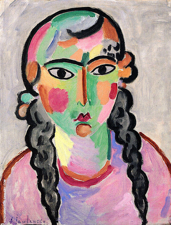 The Pale Girl with Grey Braids Painting By Alexej von Jawlensky