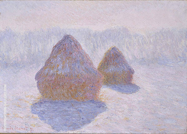 Haystacks Effect of Snow and Sun 1891 by Claude Monet | Oil Painting Reproduction Replica On Canvas - Reproduction Gallery
