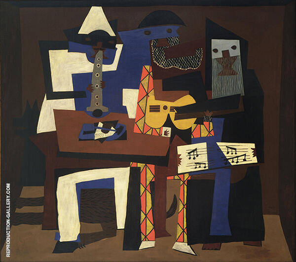 Three Musicians with Masks 1921 -2 Painting By Pablo Picasso