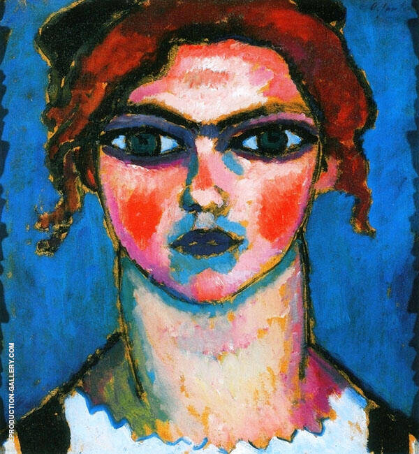 Young Girl with Green Eyes Painting By Alexej von Jawlensky