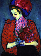 Young Woman with Peonies By Alexej von Jawlensky