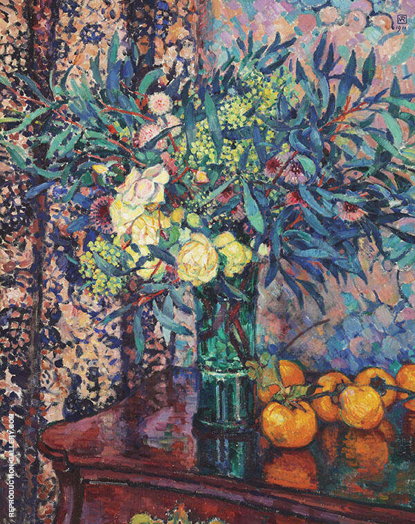 Yellow Roses, Persimmons and Mimosas By Theo van Rysselberghe