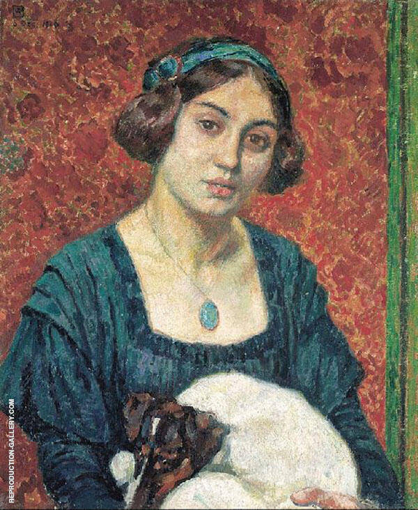 Young Lady with a Dog By Theo van Rysselberghe