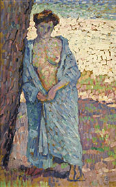Young Woman in Blue Peignoir 1905 By Theo van Rysselberghe