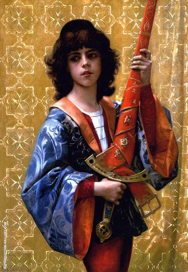 Young Page in Florentine Garb 1881 by Alexandre Cabanel | Oil Painting Reproduction Replica On Canvas - Reproduction Gallery