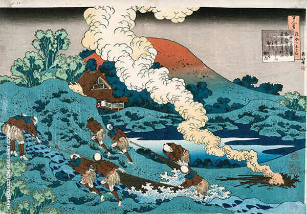 Men Fishing in The River with a Drag Net with Smoke Rising from a Bonfire By Katsushika Hokusai