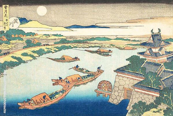 Moonlight on The Yodo River By Katsushika Hokusai
