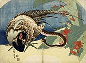 Pheasant and Snake By Katsushika Hokusai