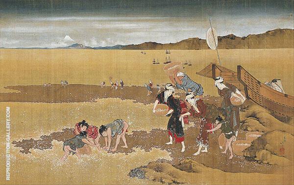 Shell Gathering By Katsushika Hokusai