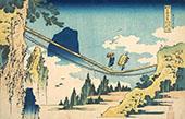 The Suspension Bridge on The Border of Hida and Etchu Provinces By Katsushika Hokusai