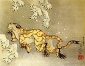 Tiger in The Snow By Katsushika Hokusai