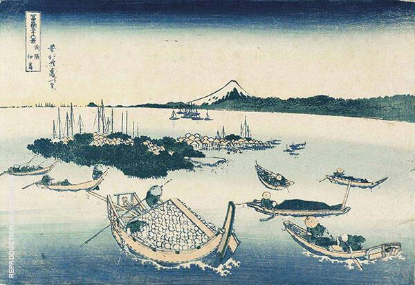 Tsukuda Island in Musashi Province By Katsushika Hokusai