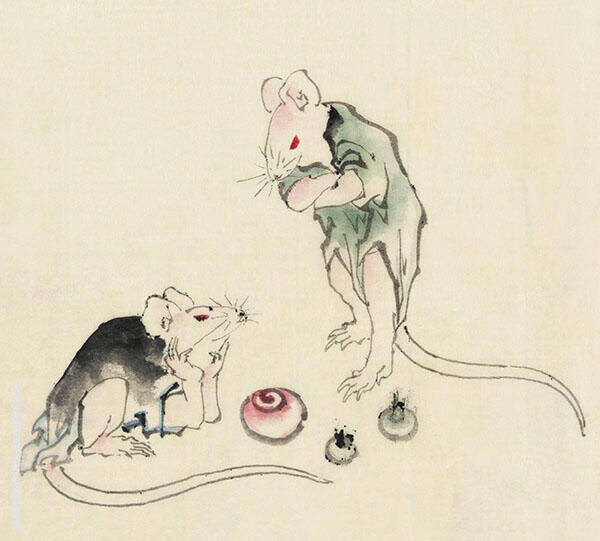Two Mice One Lying on The Ground with Head Resting on Forepaws By Katsushika Hokusai