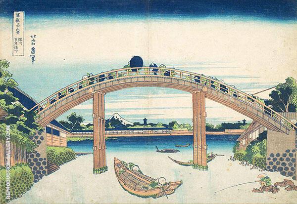 Under The Mannen Bridge at Fukagawa By Katsushika Hokusai