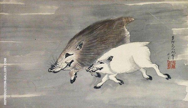 Wild Boar in The Moonlight By Katsushika Hokusai