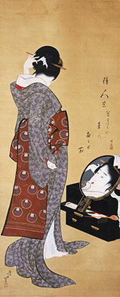 Woman Looking at Herself By Katsushika Hokusai