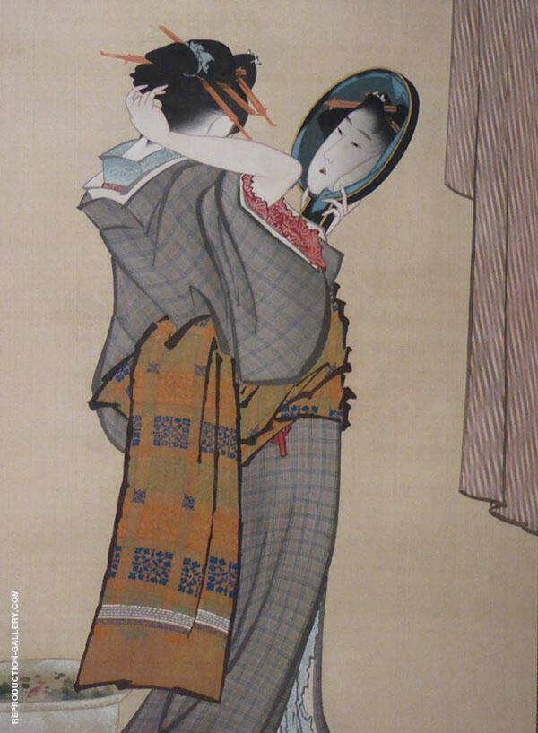 Woman Looking in Mirror By Katsushika Hokusai