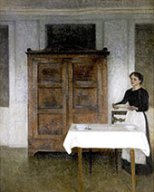 Girl Setting The Table By Vihelm Hammershoi