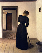 Interior with a Young Woman Sweeping By Vihelm Hammershoi