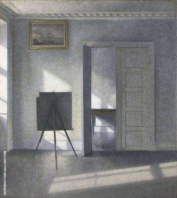 Interior with Easel By Vihelm Hammershoi