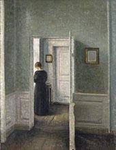 Interior Woman Standing By Vihelm Hammershoi